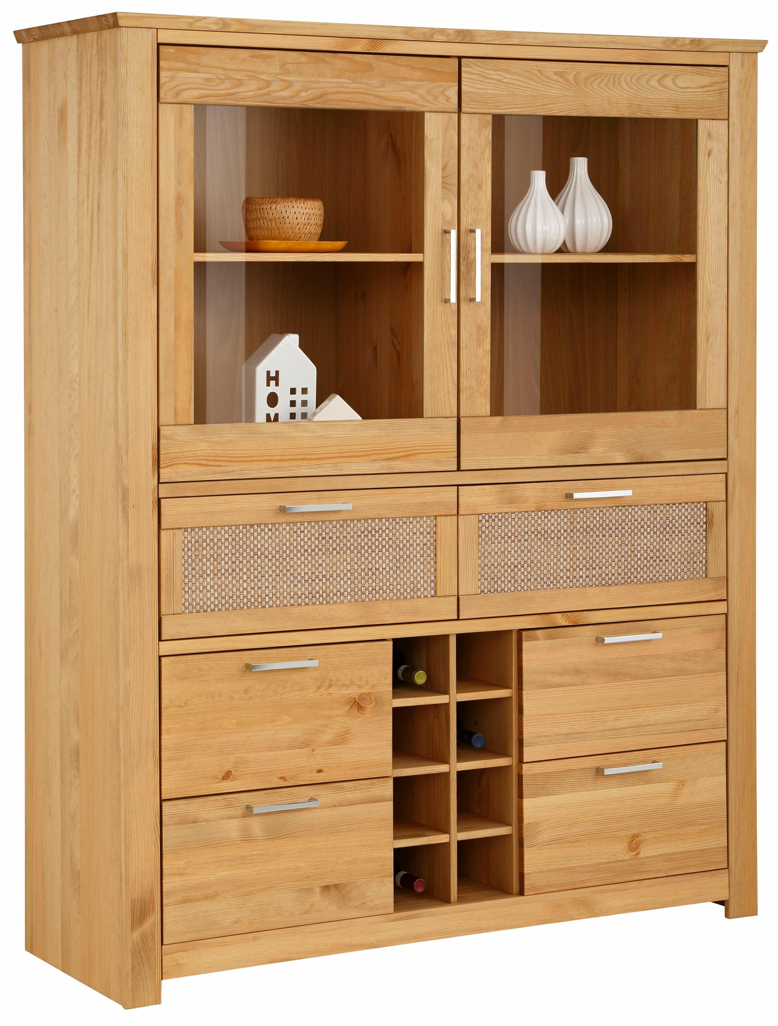 Home affaire Highboard »Carro« mit Rattan Front, Breite 143 cm