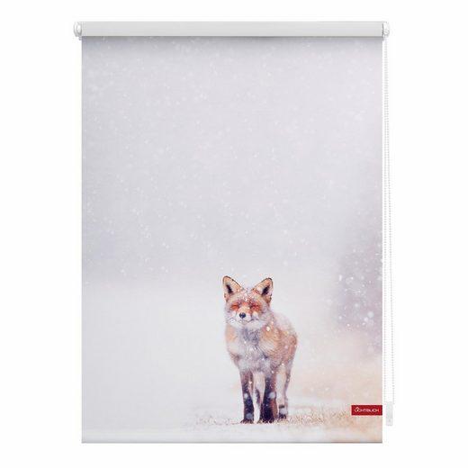Seitenzugrollo »Klemmfix Motiv Fuchs im Schnee«, LICHTBLICK, Lichtschutz, ohne Bohren, freihängend, bedruckt