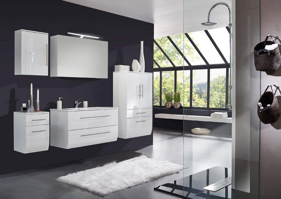 SalesFever Badmöbel-Set, Breite 120 cm (5-tlg.) Deluxe mit breitem Hochschr »Nizana« in weiß