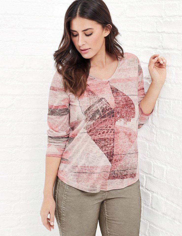 Samoon T-Shirt Langarm Rundhals »Longsleeve mit Print« in Rosa Druck