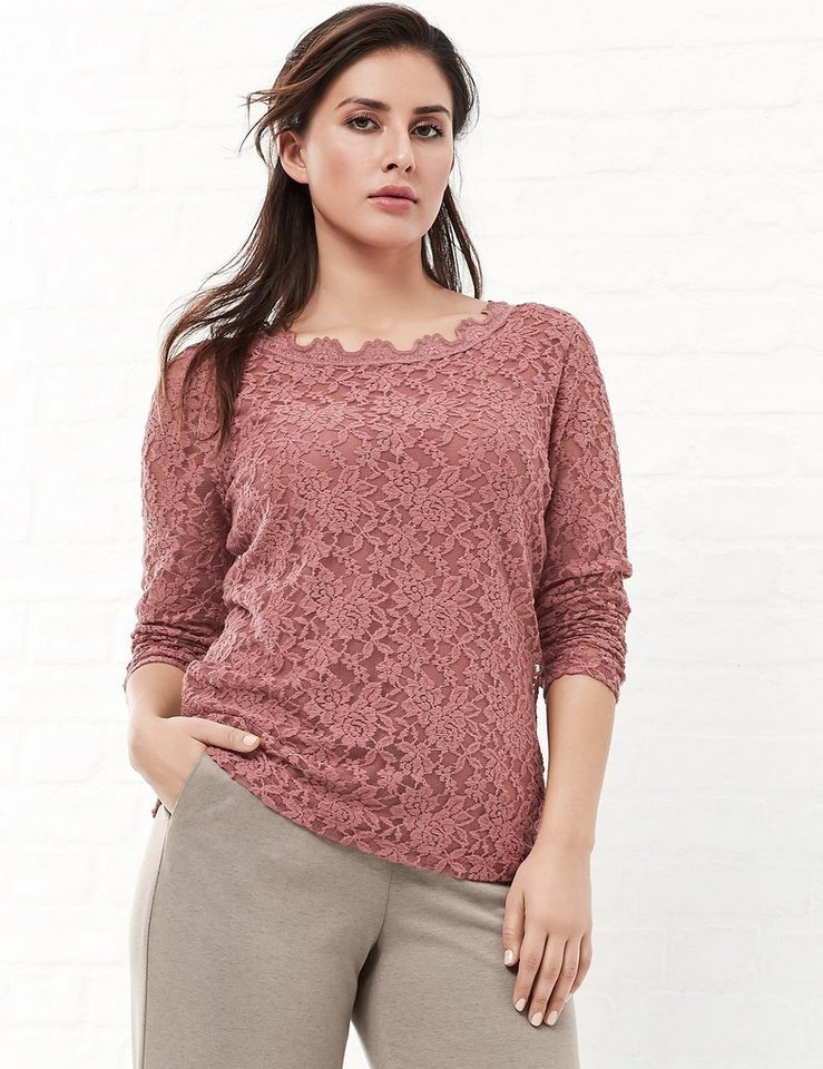 Samoon T-Shirt Langarm Rundhals »Elastisches Spitzenshirt« in Withered Rose