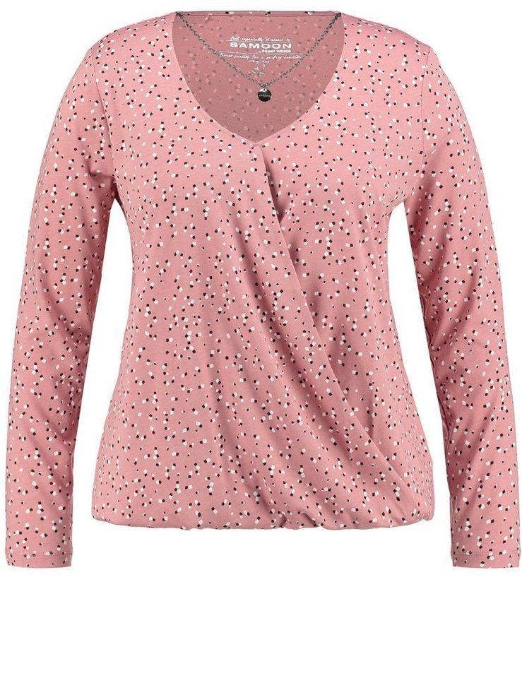 Samoon T-Shirt Langarm Rundhals »Longsleeve« in Ashrose Druck