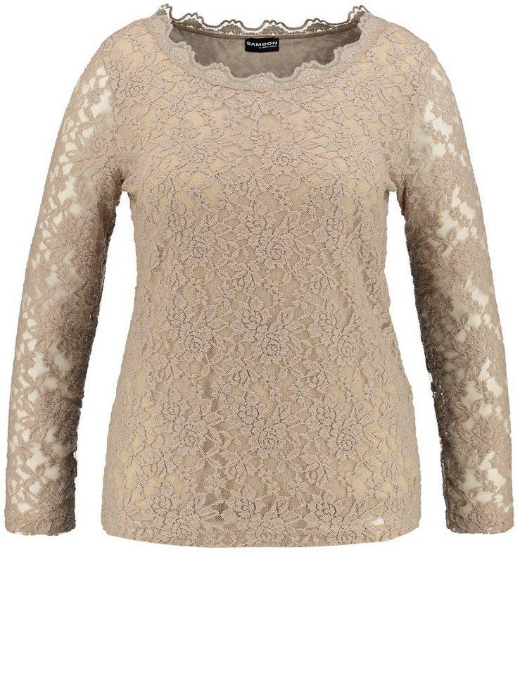 Samoon T-Shirt Langarm Rundhals »Elastisches Spitzenshirt« in Soft Brush