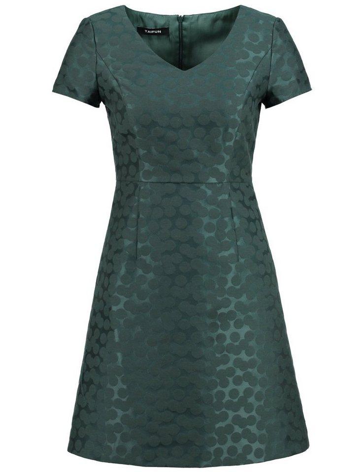 Taifun Kleid Langarm kurz »Elegantes Jacquard-Kleid« in Grün gemustert