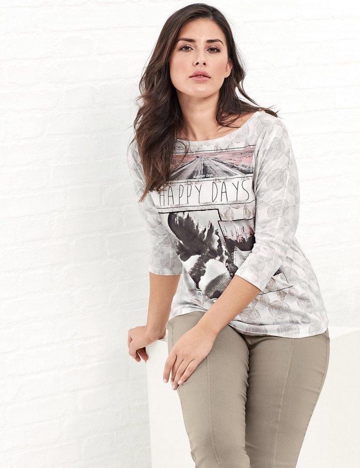 Samoon T-Shirt 3/4 Arm Rundhals »Shirt mit Fledermausärmeln« in Ecru/Beige Druck