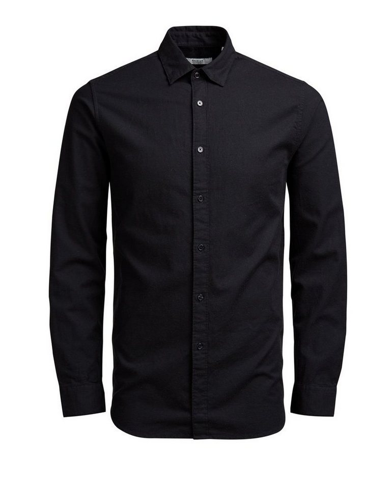 Jack & Jones Button-under-Slub- Langarmhemd in Black