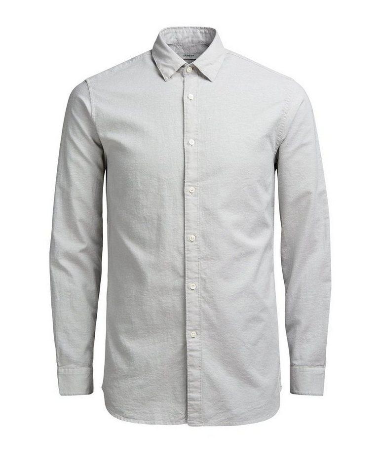 Jack & Jones Button-under-Slub- Langarmhemd in Mirage Gray