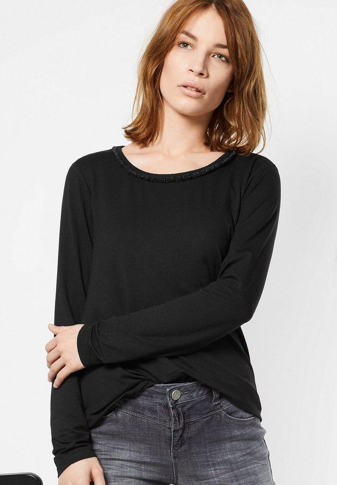Street One Shirt mit Perlenkante Jakoba in Black
