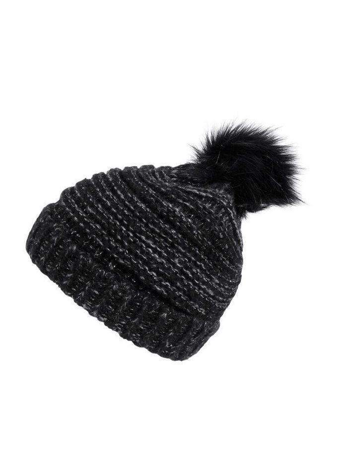 Q/S designed by Glitzer-Mütze mit Fake Fur in black