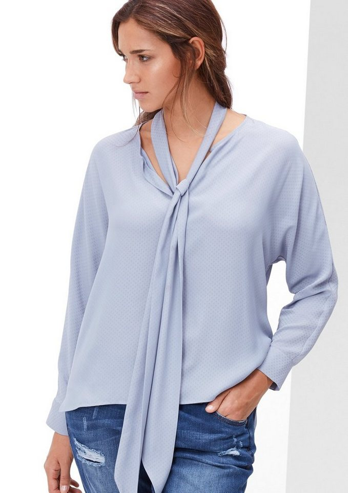 TRIANGLE Jacquard-Bluse mit Schluppe in dusty lavender