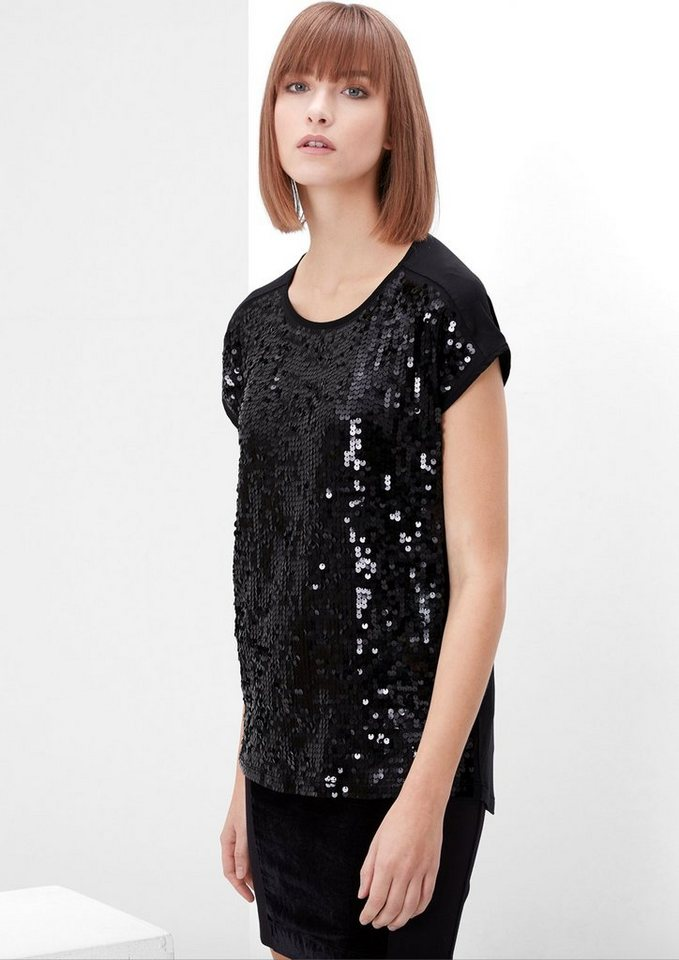 s.Oliver RED LABEL Glamouröses Paillettenshirt in black