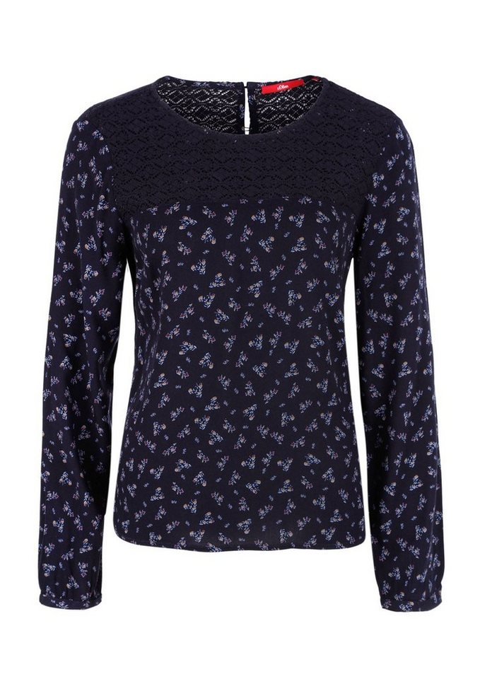 s.Oliver RED LABEL Blümchenbluse mit Spitze in navy AOP