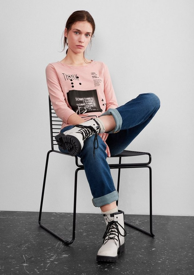 Q/S designed by Nightlife-Shirt mit 3/4-Arm in bermuda pink placed