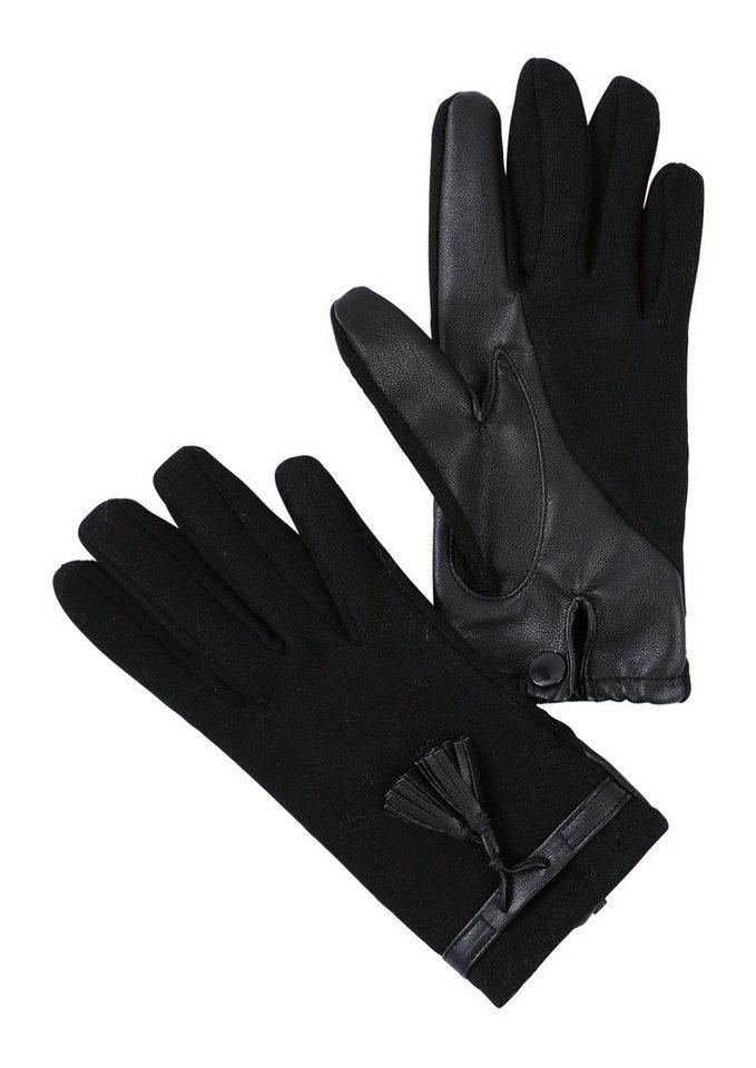 s.Oliver RED LABEL Handschuhe mit Leder-Look-Details in black