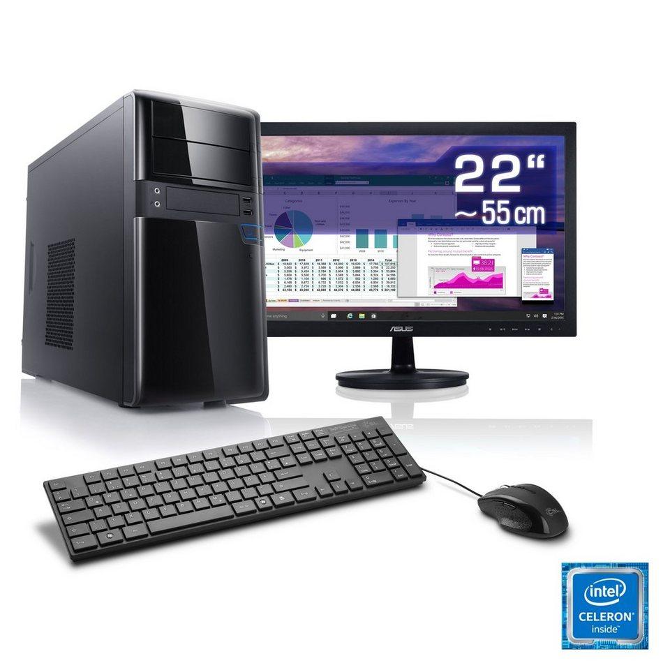 "CSL Office PC Set | Intel J1900 | 8 GB RAM | SSD | 22"" TFT »Speed T1893 Windows 10 Home« in schwarz"