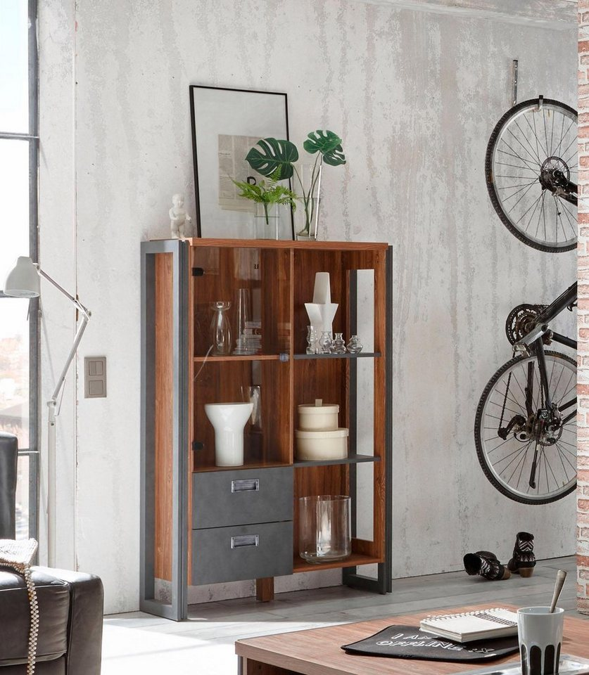 home affaire highboard detroit mit 2 schubladen h he 140 cm im angesagten industrial look. Black Bedroom Furniture Sets. Home Design Ideas