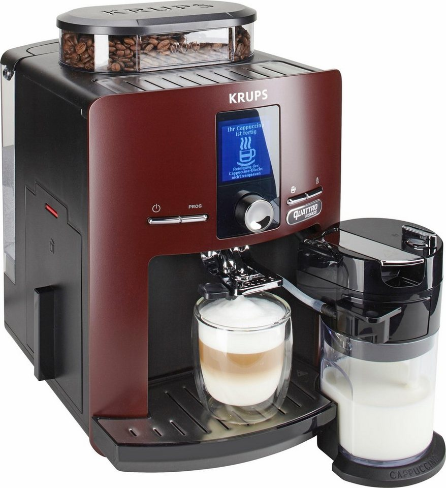 Krups Kaffeevollautomat EA829G Latt'Espress Quattro Force, One-Touch Funktion, Milchbehälter, 1,7 L in bordeaux-rot/schwarz