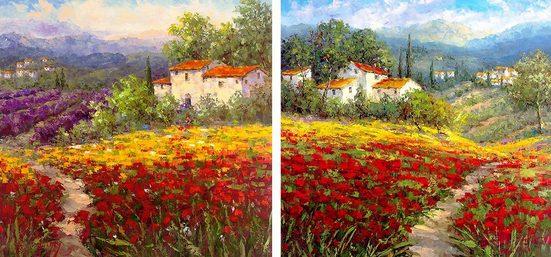 Home affaire Leinwandbild »HULSEY/Blumen I/II«, (Set), 2x 40/40 cm