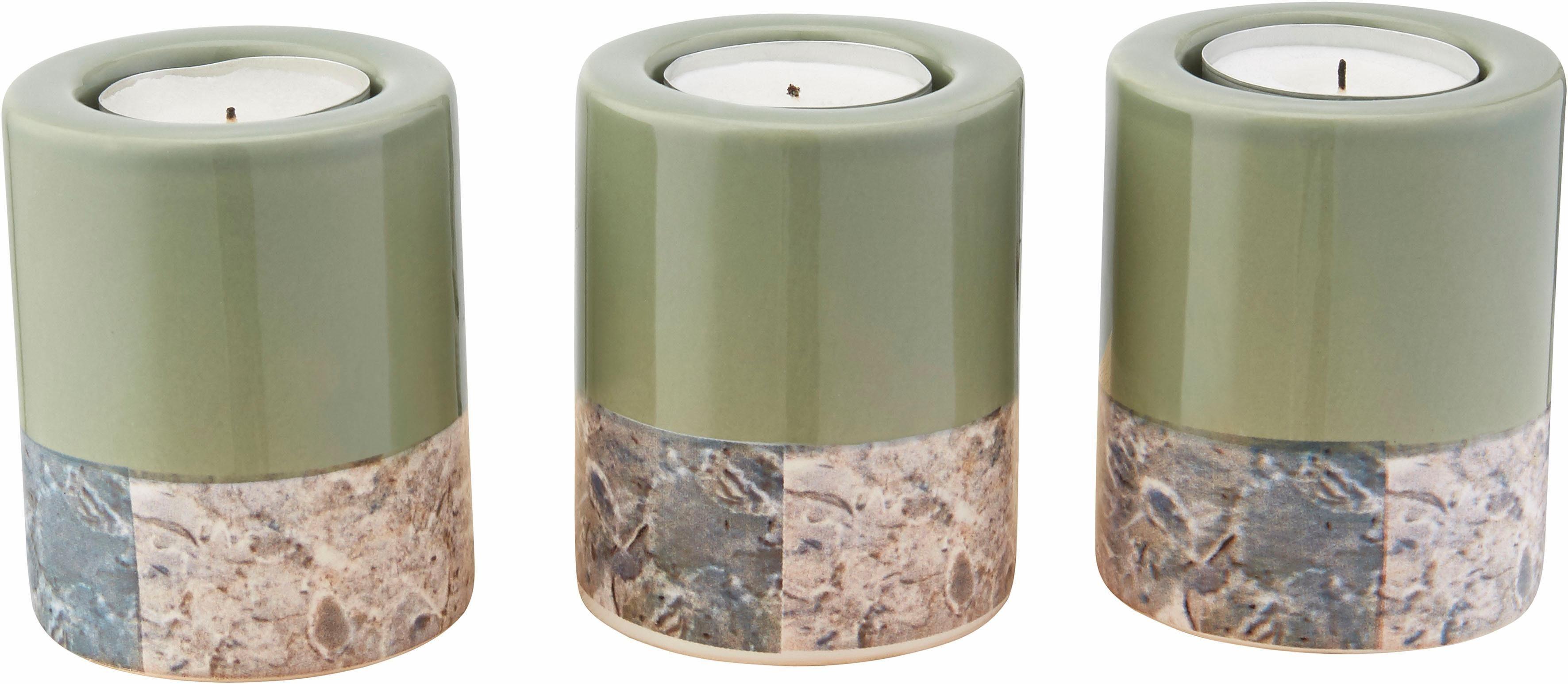 Home affaire Windlicht »Marmor-Struktur« (3-tlg.)
