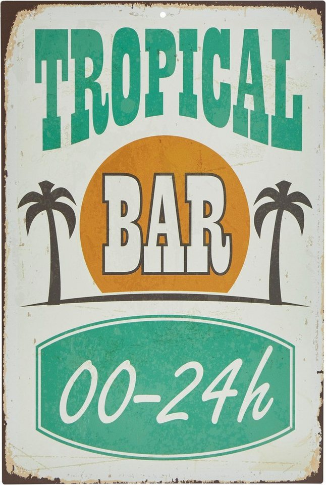 Stahlschild, Home affaire, »Tropical Bar«, Maße (B/H): ca. 30/45 cm in weiß/grün/or