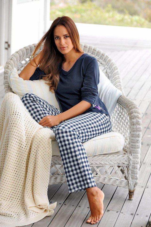 Arizona Langärmliger Pyjama mit karierter Hose in dunkelblau/kariert