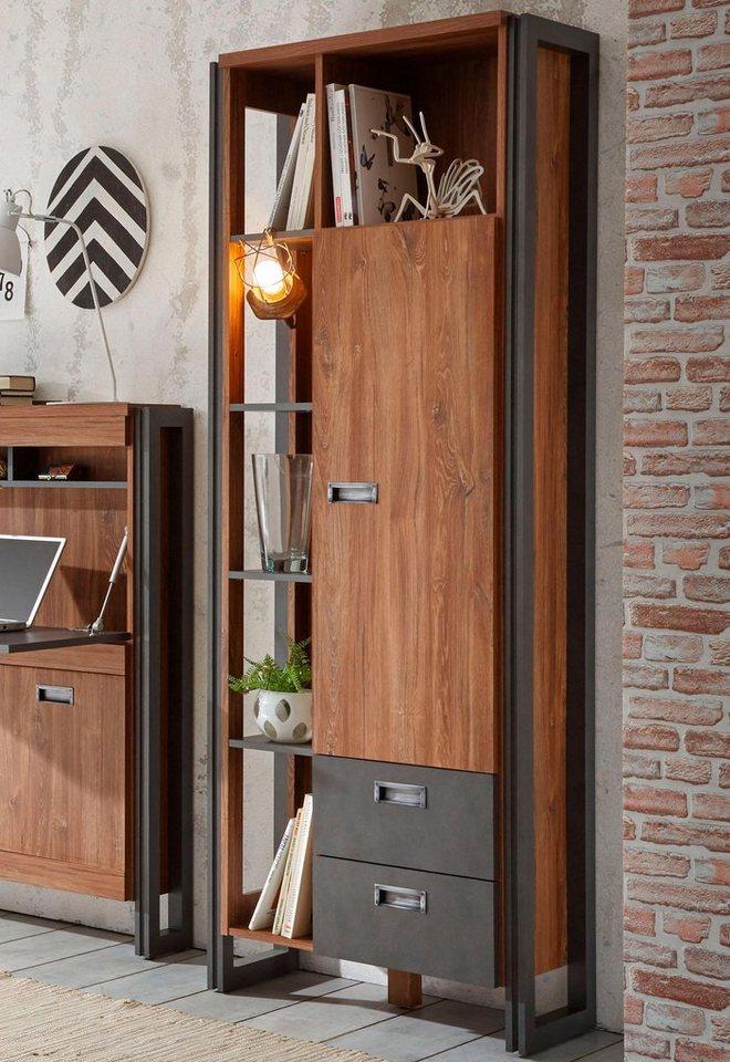 Home affaire Regalschrank »Detroit«, Höhe 202 cm, im angesagten Industrial Look in braun/ schieferfarben