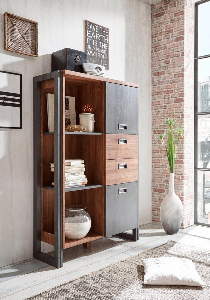 home affaire highboard detroit mit 2 t ren und 2 schubladen h he 140 cm industrial look. Black Bedroom Furniture Sets. Home Design Ideas