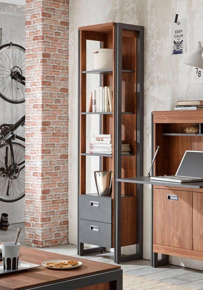 Home affaire Regal »Detroit«, Höhe 202 cm, im angesagten Industrial-Look in braun/ schieferfarben