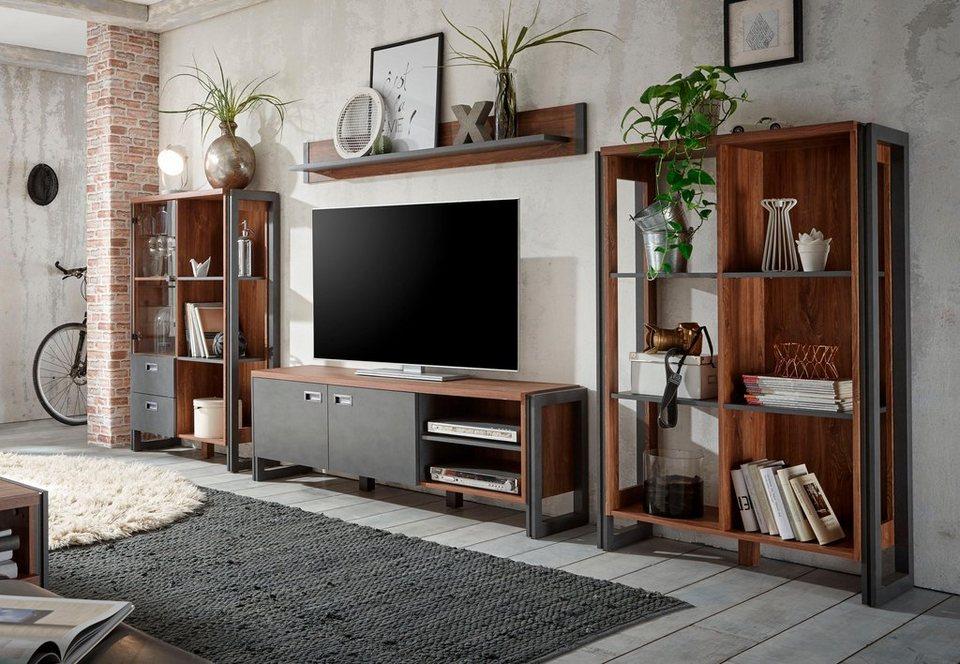Home affaire Wohnwand (4tlg.) »Detroit1«, im angesagten Industrial Look in braun/ schieferfarben