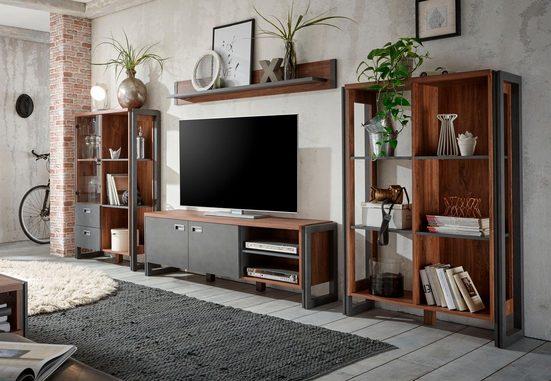 Home affaire Wohnwand »Detroit Set 1«, (Set, 4-tlg), im angesagten Industrial Look