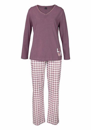 Arizona Langärmliger Pyjama mit karierter Hose