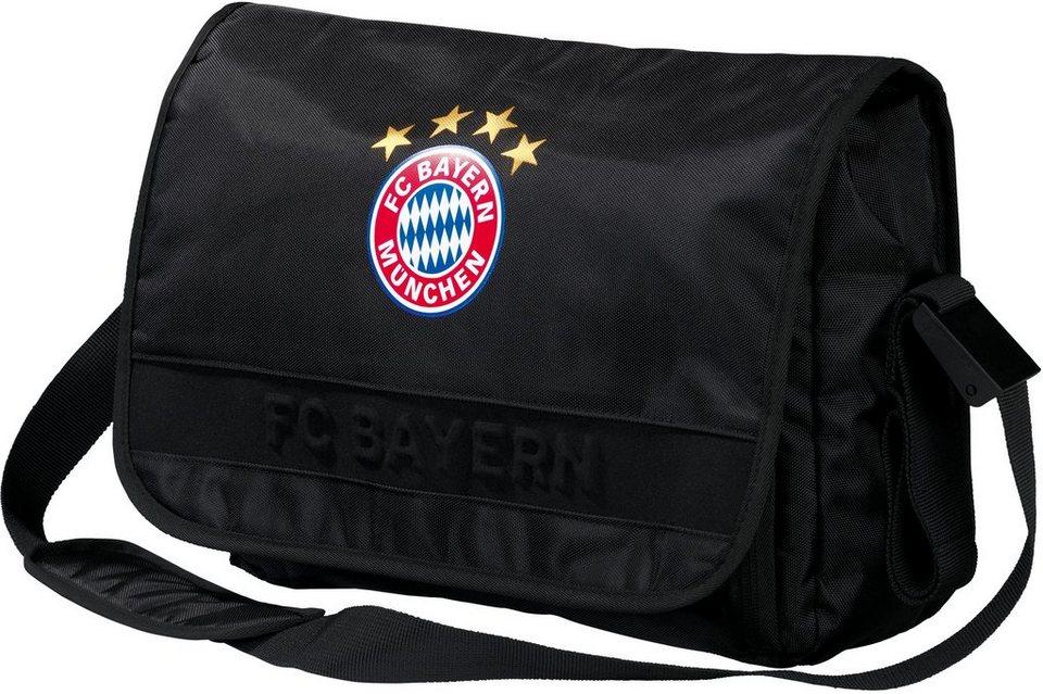 FC Bayern Umhängetasche mit Laptopfach, »Messenger Bag, schwarz« in schwarz