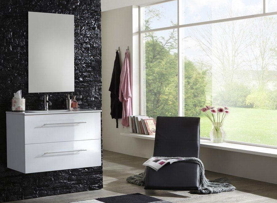 SalesFever Badmöbel-Set, Breite 90 cm (2-tlg.) Light »Basia« in weiß