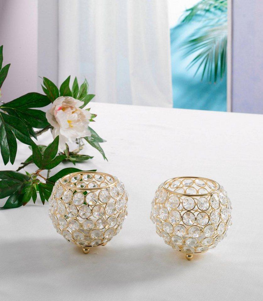 Teelichthalter, Home affaire, »Kristall« (2er Set) in gold
