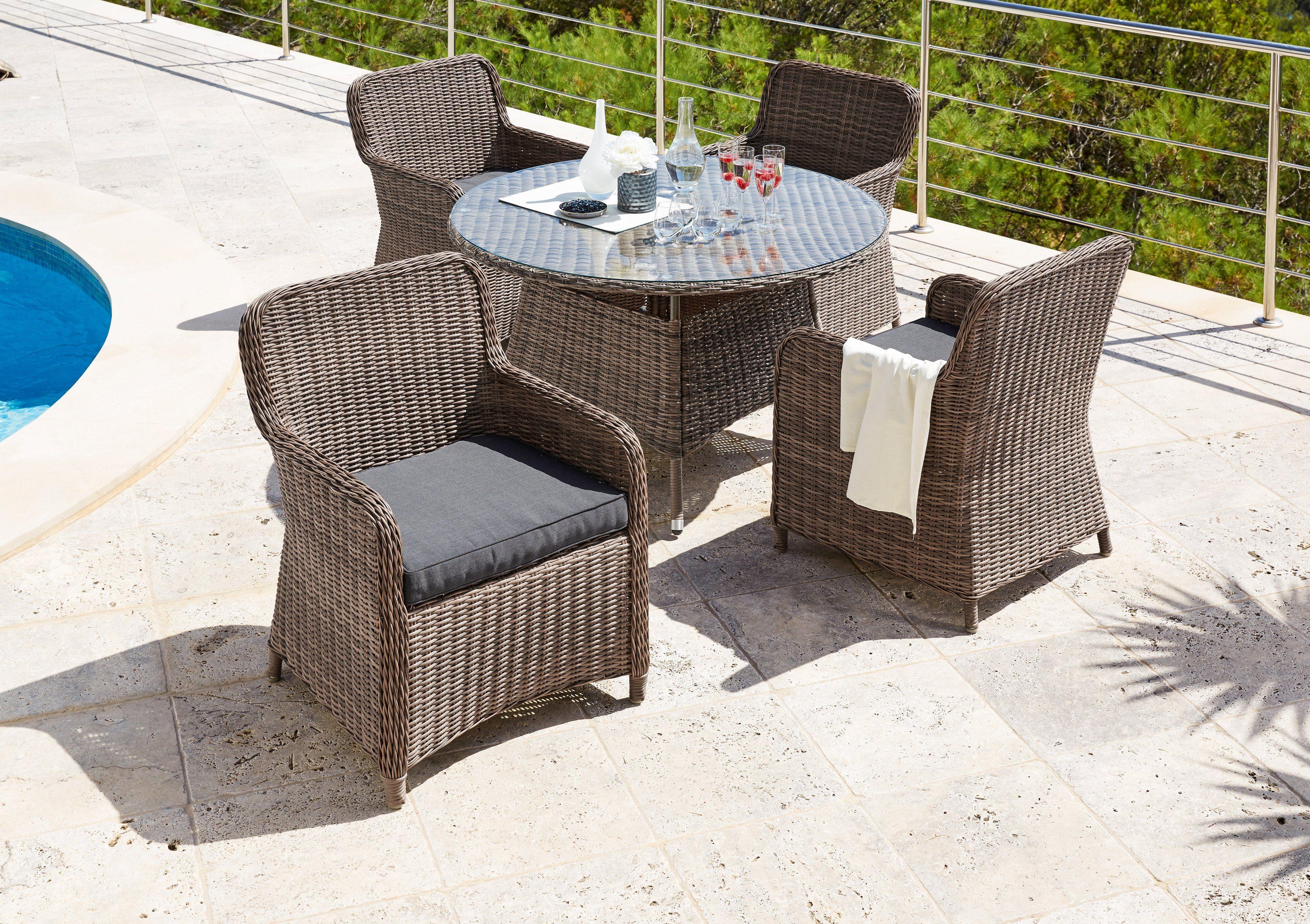 9-tgl. Gartenmöbelset »Kapstadt«, 4 Sessel, 1 Tisch Ø 100 cm, Polyratten, natur