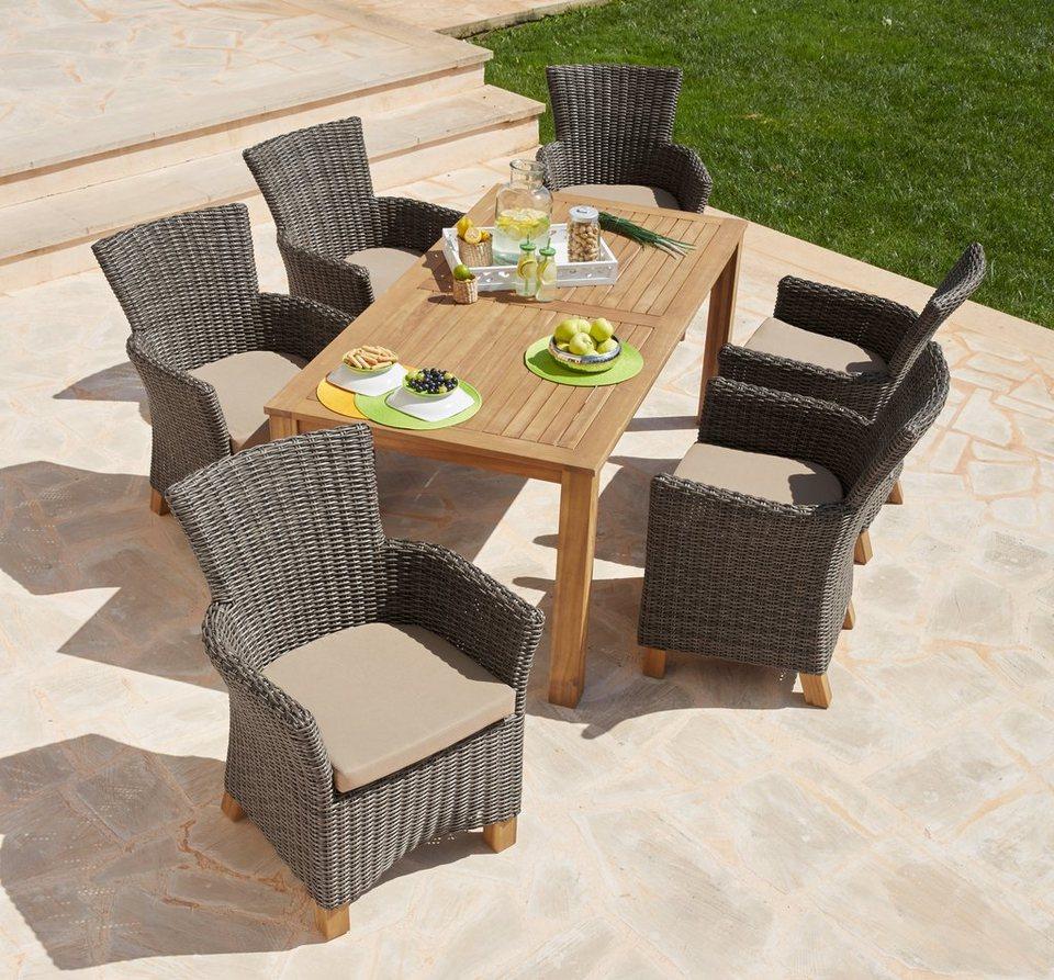 13-tlg. Gartenmöbelset »Toskana«, 6 Sessel, Tisch 185x90cm, Kunststoffgeflecht/Akazienholz in hellbraun