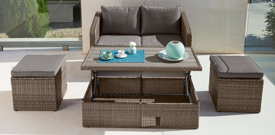 10-tgl. Gartenmöbelset »Lagos«, 2er-Sofa, 2 Hocker, Tisch 111x57 cm, Polyrattan,braun in braun