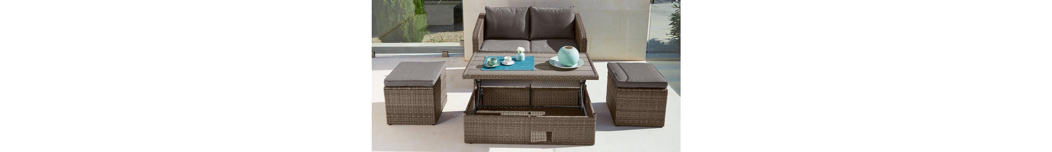 10-tgl. Gartenmöbelset »Lagos«, 2er-Sofa, 2 Hocker, Tisch 111x57 cm, Polyrattan,braun