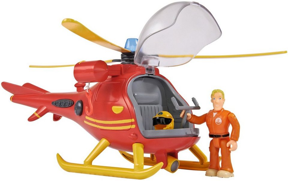 Simba Hubschrauber mit Licht und Funktion, »Feuerwehrmann Sam mit Figur«