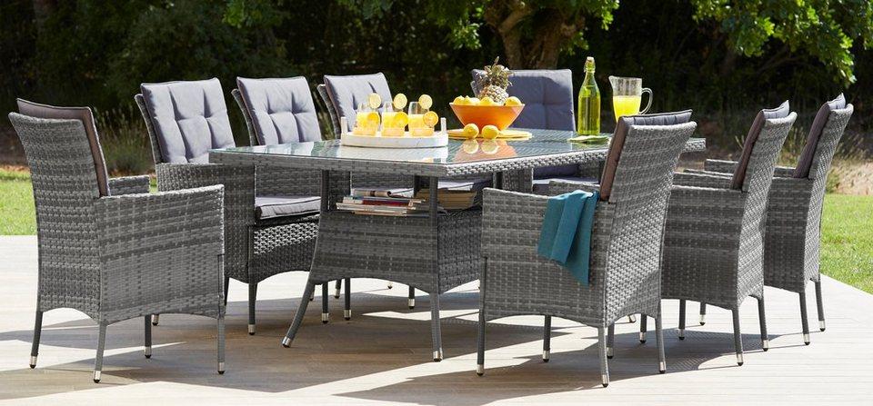 Gartenmöbel set polyrattan grau  Gartenmöbelset »Santiago New«, 26-tlg., 8 Sessel, Tisch 200x100 cm ...