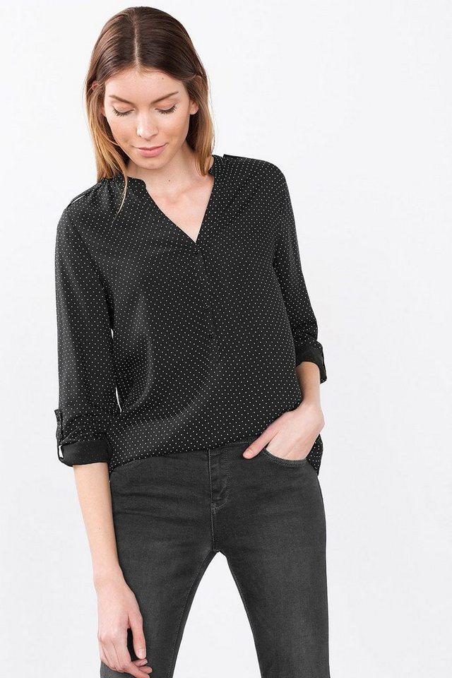 ESPRIT CASUAL Fließende Bluse im Henley-Stil in BLACK