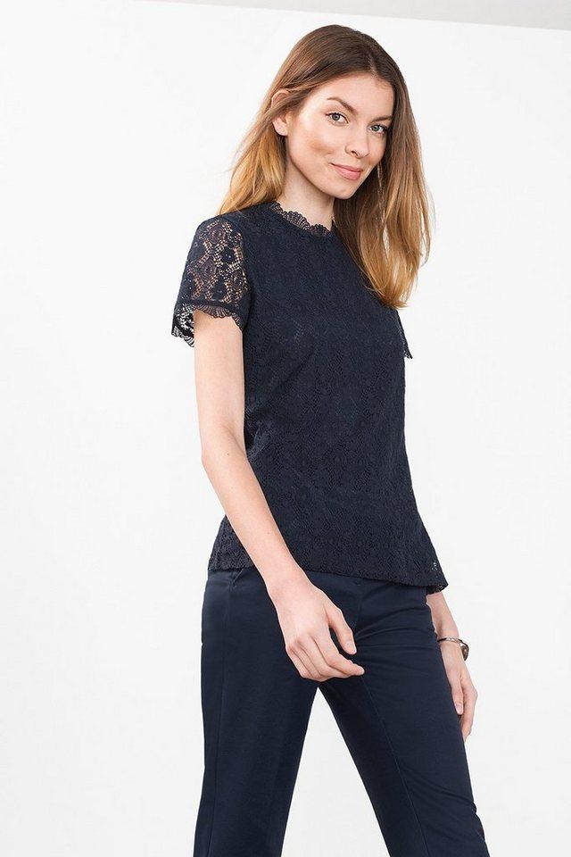ESPRIT CASUAL Shirt aus zarter Spitze aus Baumwoll-Mix in NAVY