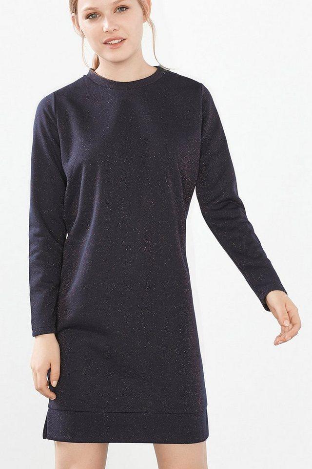 EDC Glitzerndes Sweatshirt-Kleid in NAVY