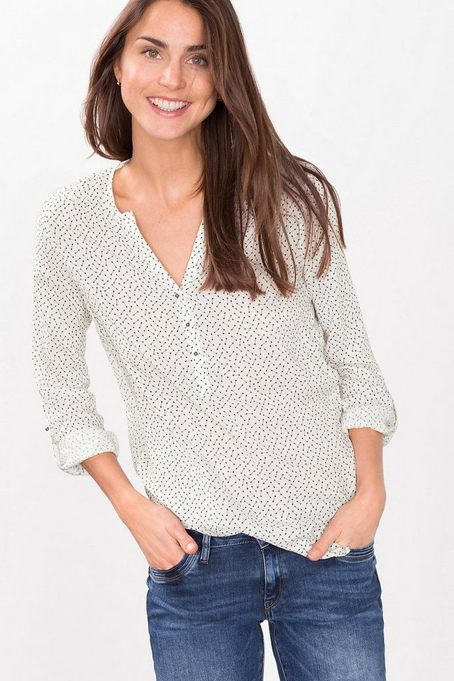 ESPRIT CASUAL Fließende Bluse im Henley-Stil in OFF WHITE