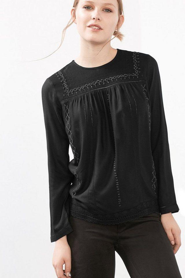 EDC Bluse mit Perlen und Lochstickerei in BLACK