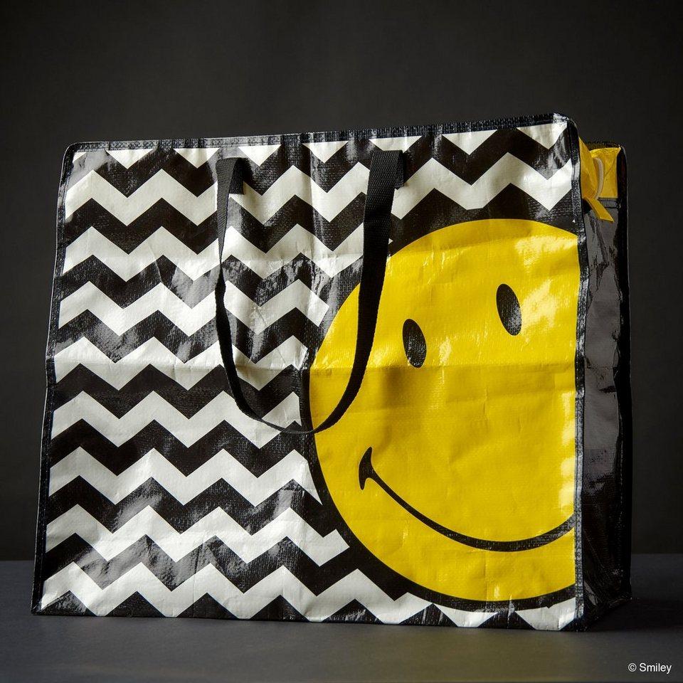 BUTLERS SMILEY »Jumbotasche Smiley Wellen« in schwarz-weiss-gelb