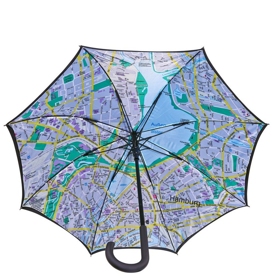 BUTLERS HAMBURG »Regenschirm Hamburg« in schwarz-bunt