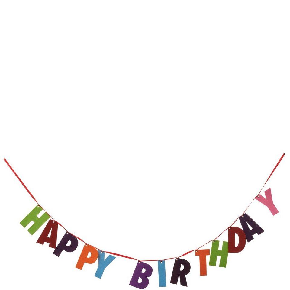 """BUTLERS PARTY »Girlande Filz """"Happy Birthday""""« in bunt"""