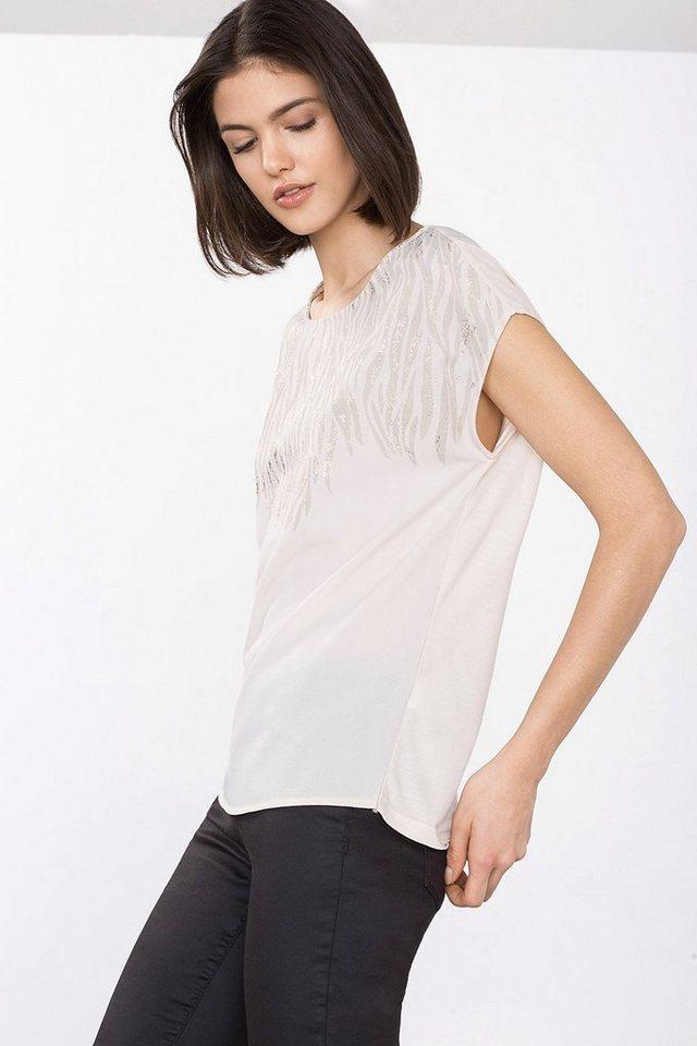 ESPRIT COLLECTION Fließendes Print-Shirt im Materialmix in ICE