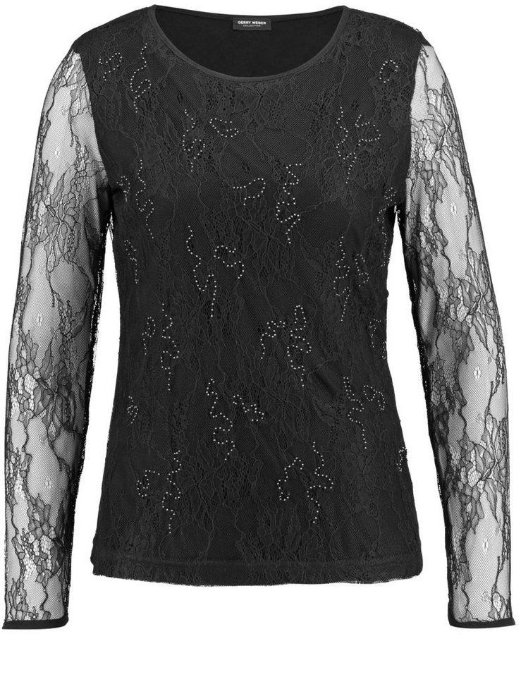 Gerry Weber T-Shirt Langarm Rundhals »Langarmshirt mit Perlendekor« in Schwarz
